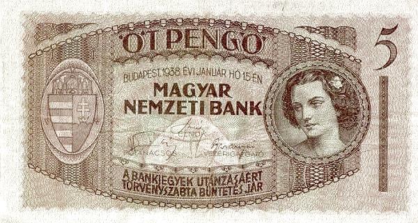 1938 - 5 pengő, női arc - Magyar Nemzeti Bank