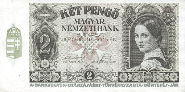1940 - 2 pengő, lány arc, modell: Rudas Valéria - Magyar Nemzeti Bank