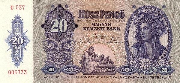 1941 - 20 pengő, díszes lány arc, furulyázó juhász - Magyar Nemzeti Bank