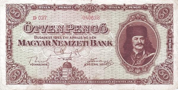 1945 - 20 pengő, II. Rákóczi Ferenc fejedelem - Magyar Nemzeti Bank