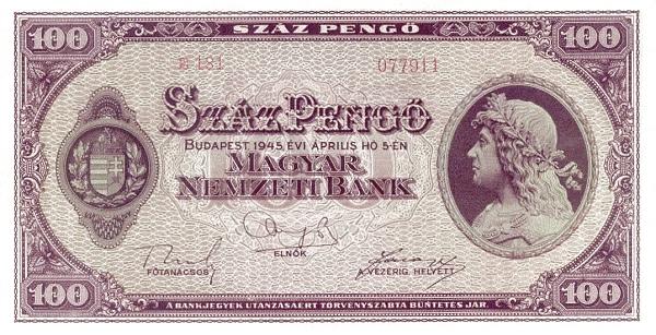 1945 - 100 pengő, Mátyás király - Magyar Nemzeti Bank