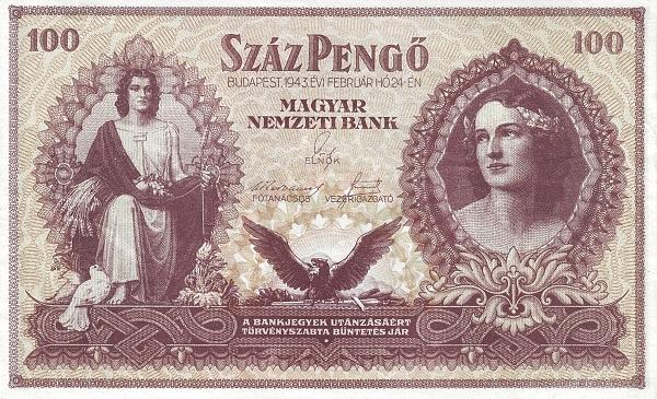 1943 - 100 pengő, allegorikus nőalak, női arc - Magyar Nemzeti Bank
