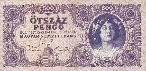 1945 - 500 pengő, női arc - Magyar Nemzeti Bank