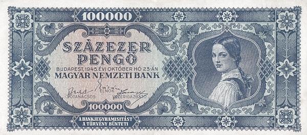 1945 - 100 000 pengő, női arc - Magyar Nemzeti Bank