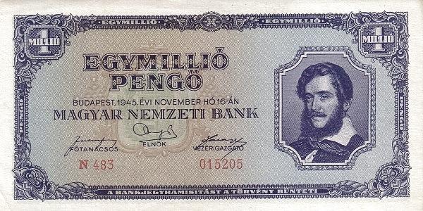 1945 - 1 millió pengő, Kossuth Lajos - Magyar Nemzeti Bank
