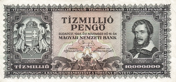 1945 - 10 millió pengő, Kossuth Lajos - Magyar Nemzeti Bank