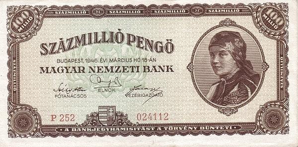 1946 - 100 millió pengő, női arc - Magyar Nemzeti Bank