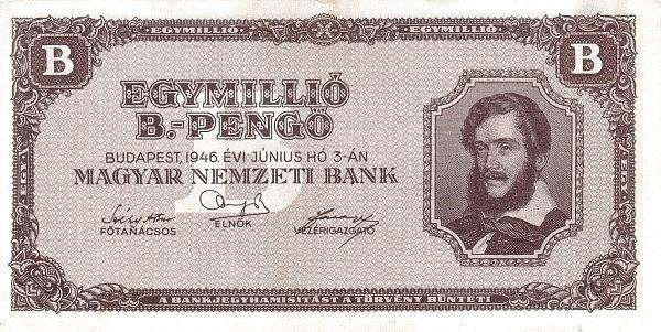 1946 - hiperinflációs címlet, 1 billpengő= 1 milliószor 1 millió pengő - Magyar Nemzeti Bank