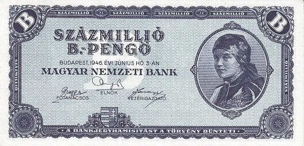 1946 - hiperinflációs címlet, a legmagasabb címletű, forgalomba került magyar pénz - Magyar Nemzeti Bank