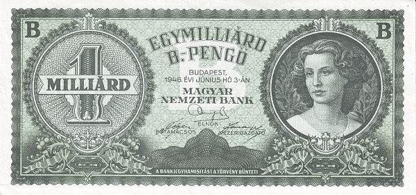 1946 - hiperinflációs címlet, a legmagasabb címletű magyar pénz, forgalomba már nem került - Magyar Nemzeti Bank