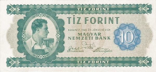 1946 - 10 forint, Pfeffer Mihály pénzjegynyomdai munkás - Magyar Nemzeti Bank