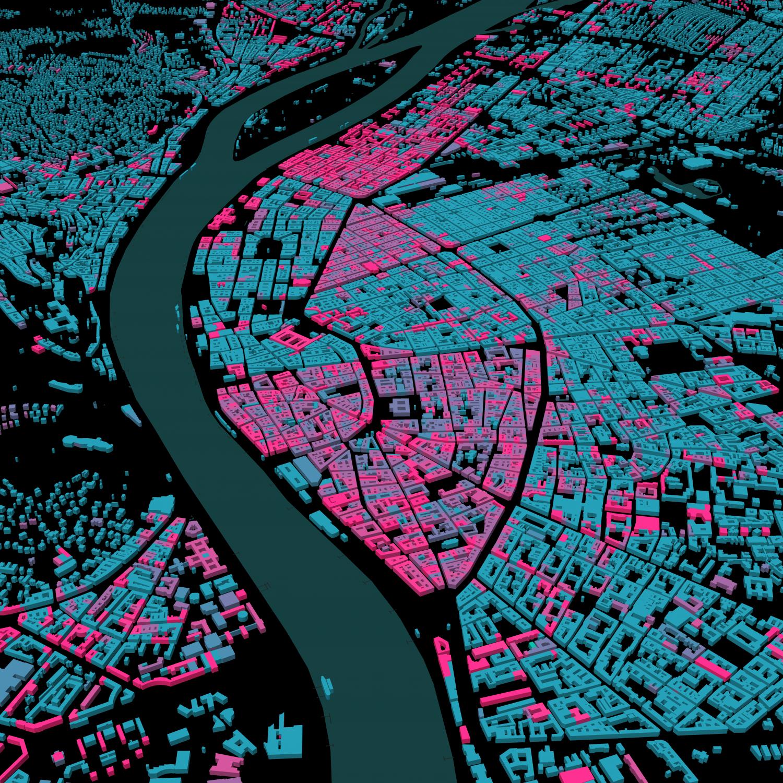 Budapest épületmagasságai / Mapbox / OSM / kísérlet