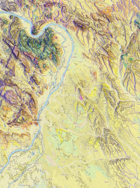 A Dunakanyar kontúrvonalas földtani térképe / Mapbox / OSM / kísérlet