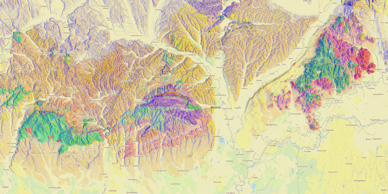 Az Északi-középhelység földtani térképe / Mapbox / OSM / kísérlet